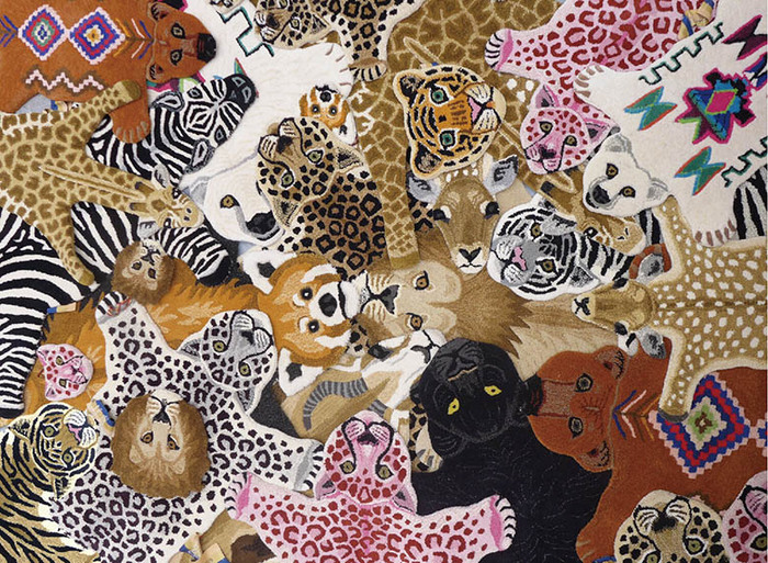 Doing Goods|手工羊毛動物造型地毯 - 粉紅獅子