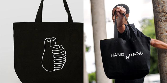 HAND IN HAND|HUGS 中型托特包 – 黑