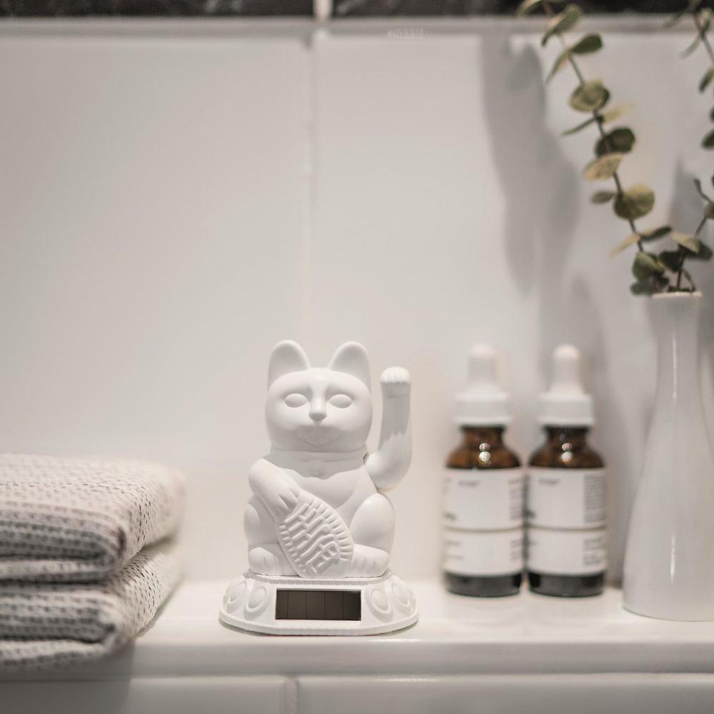德國 Donkey Products|太陽能招財貓 Maneki-Neko - 白