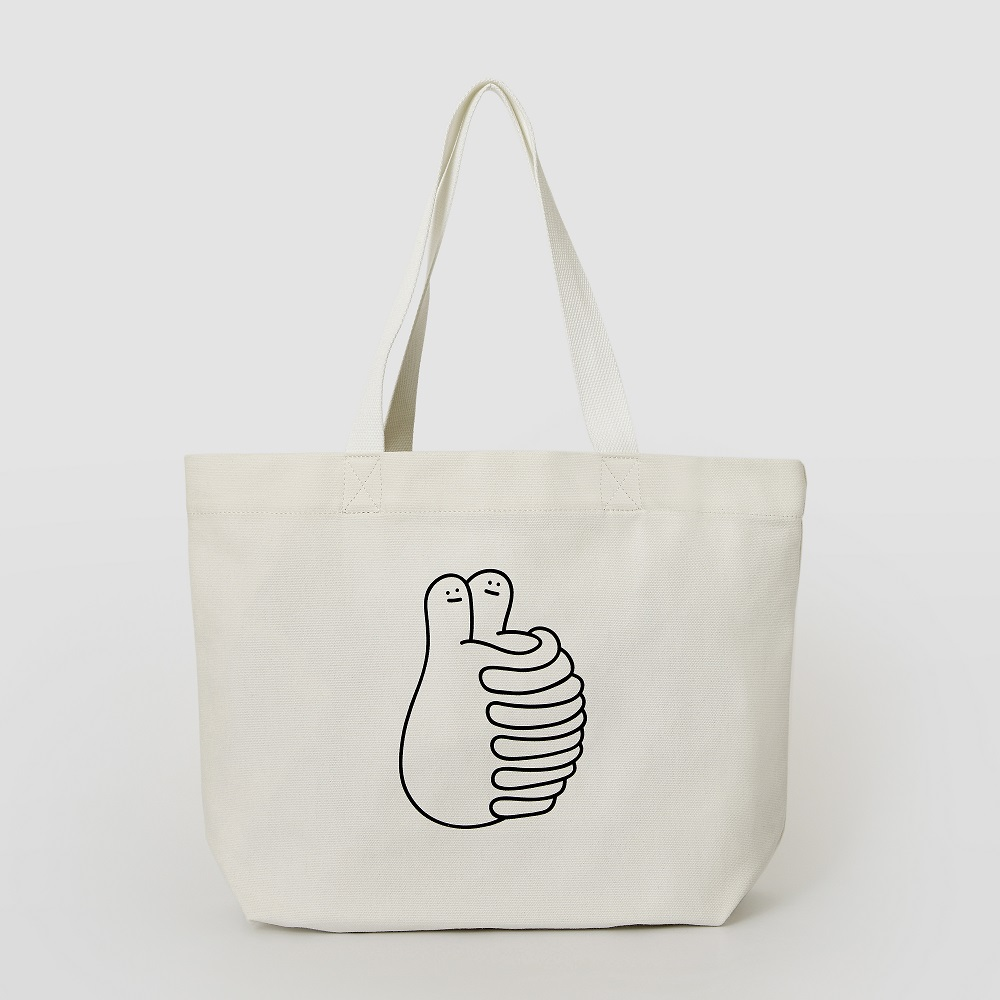 HAND IN HAND|HUGS 中型托特包 – 白