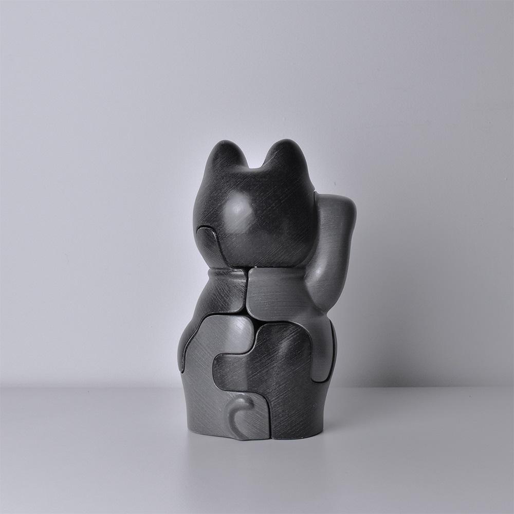 LOCKNESTERS|灰色招財貓拼圖公仔 - 大(高24cm)