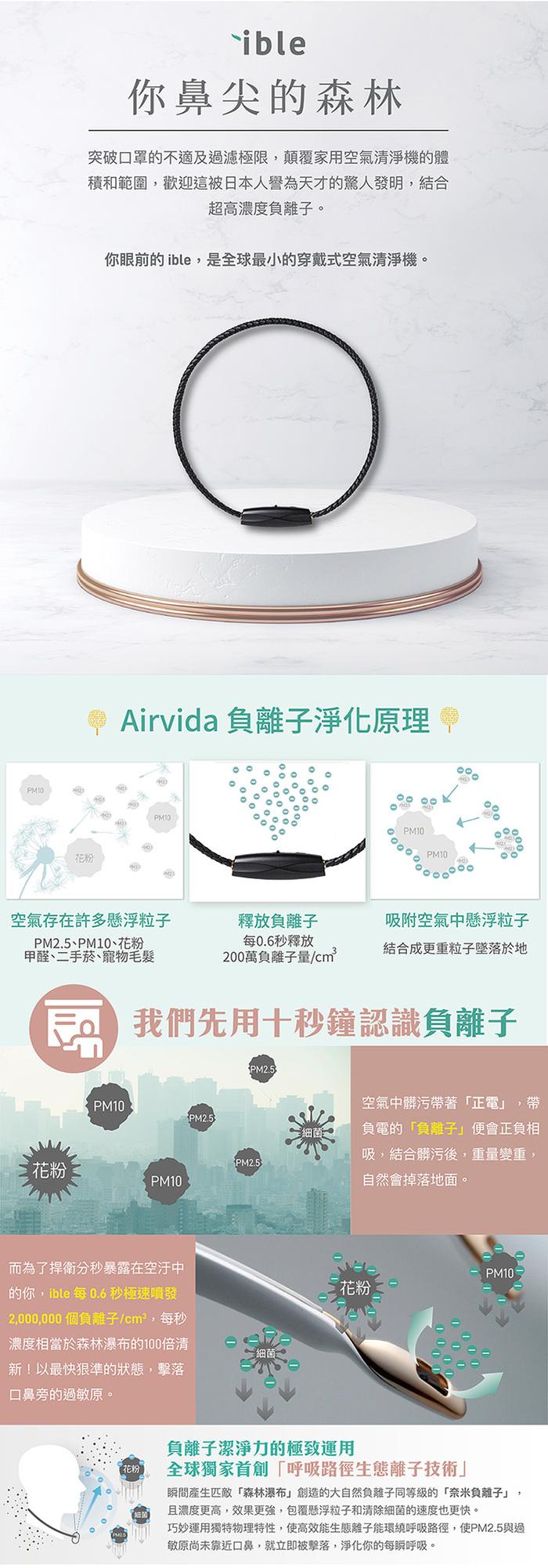 ible|Airvida M1鈦項圈穿戴式空氣清淨機(經典編織款)