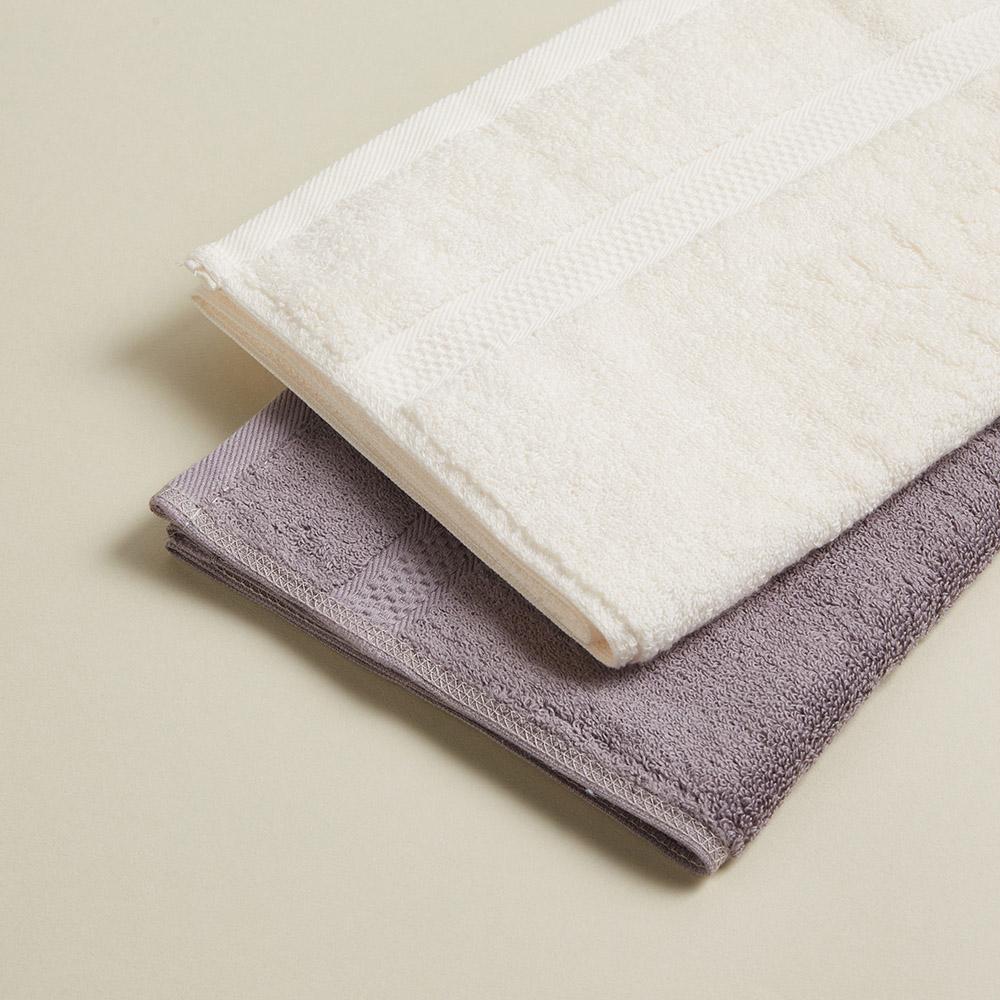DAVID & MAISIE|純棉無撚紗絲柔洗臉毛巾 米