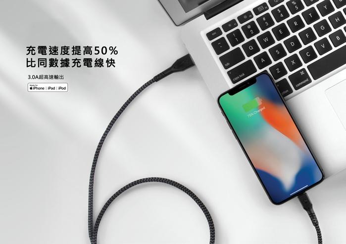 ENERGEA|Fibratough 快充MFI認證傳輸線 USB-C to Lightning 1.5M