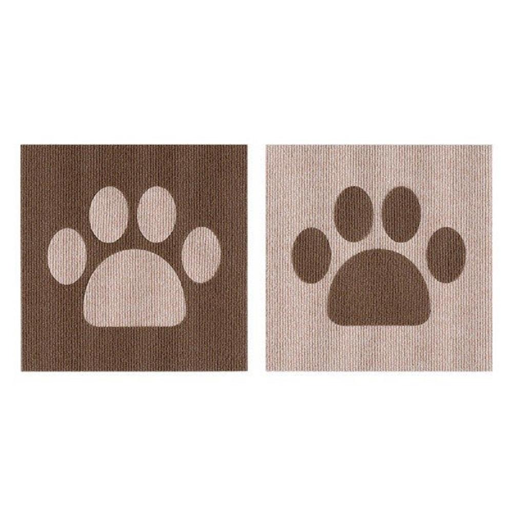 SANKO|防潑水止滑巧拼地墊 寵物肉球造型 1組2片裝(米色/咖啡色)