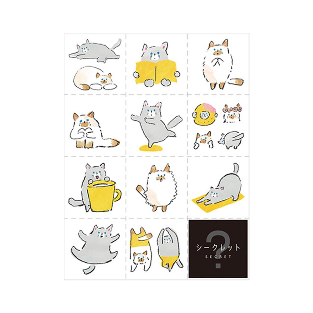 KING JIM|HITOTOKI手帳大張貼紙 貓咪 LSS002
