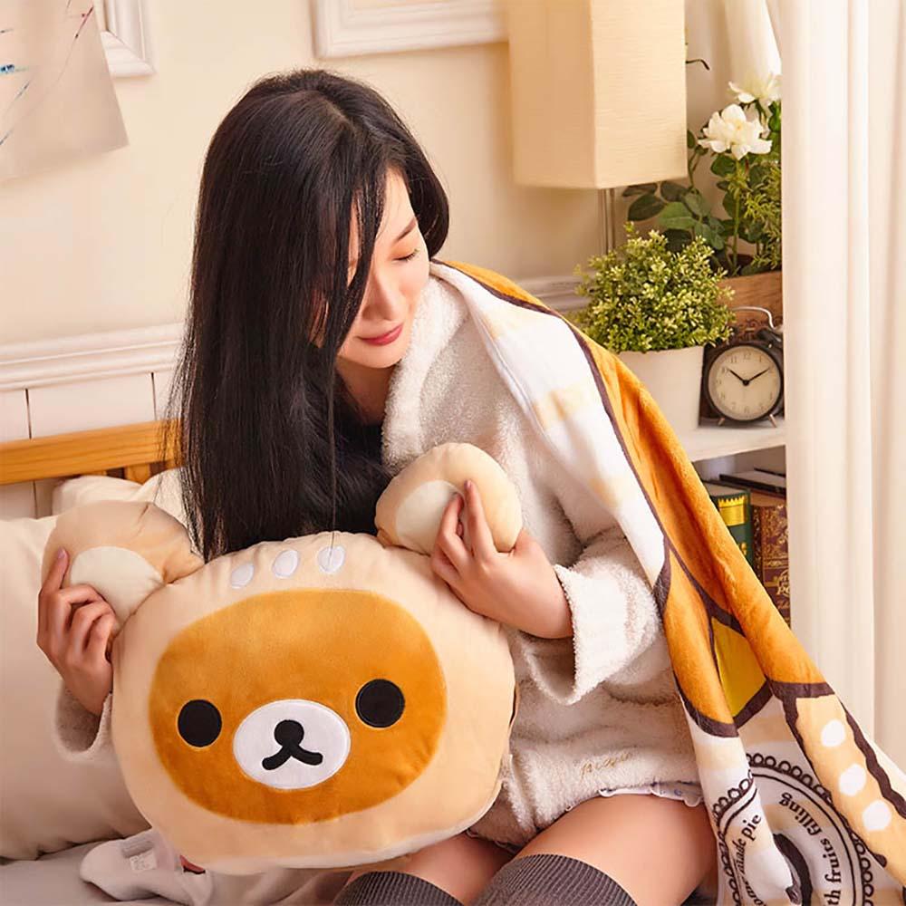 Rilakkuma | 梅花小鹿 拉拉熊 溫暖靠枕(附輕柔毛毯) 拉拉熊-咖啡色