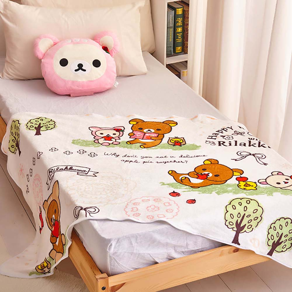 Rilakkuma | 梅花小鹿 拉拉熊 溫暖靠枕(附輕柔毛毯) 小白熊-櫻花粉