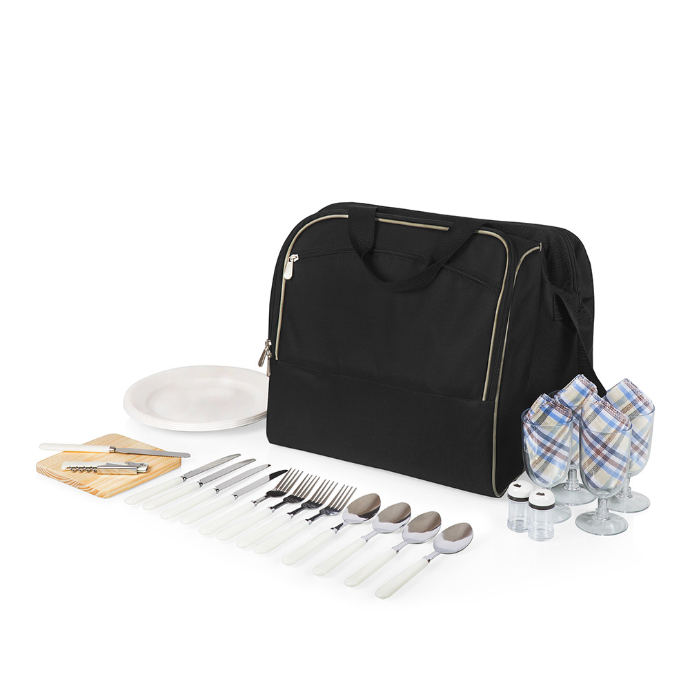 美國Picnic Time|野餐防水保冷背包(4人組)-附餐具及調味器具