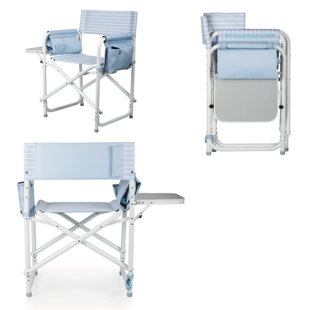 美國Picnic Time|可雙肩背戶外折疊椅- (藍/白條紋)