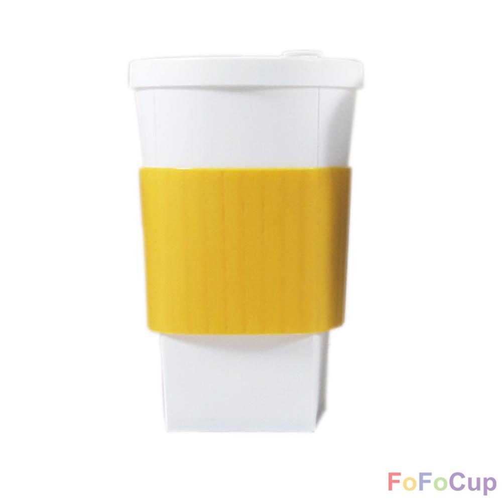FOFOCUP折折杯 台灣創意杯身可折16oz 折折杯-黃色