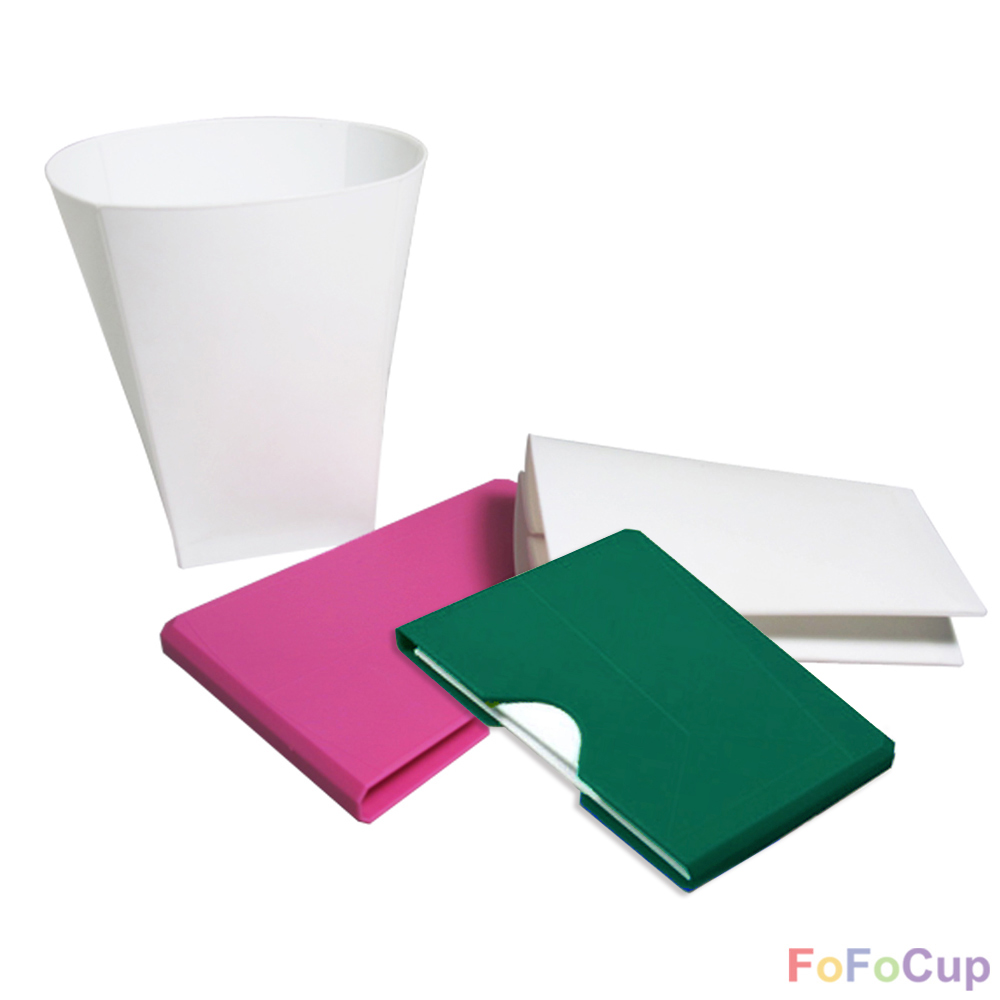 FOFOCUP折折杯|台灣創意杯身可折8oz折折杯-粉+綠各1入
