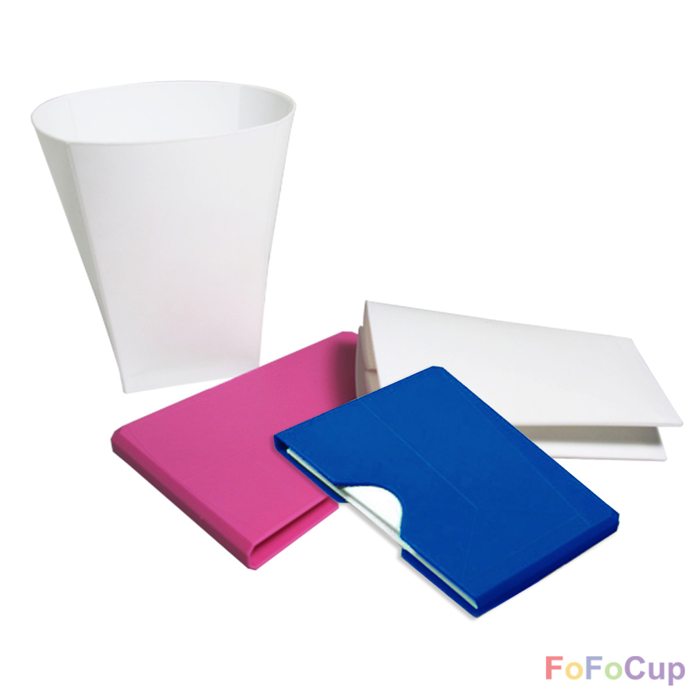 FOFOCUP折折杯|台灣創意杯身可折8oz折折杯-粉+藍各1入