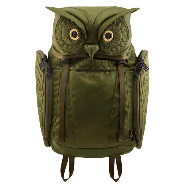 Morn Creations 正版大角貓頭鷹後背包-綠色