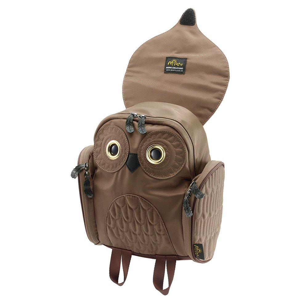 Morn Creations 正版貓頭鷹尼龍後背包 OW-303-BR 小朋友款 咖啡色 (減壓背帶設計)
