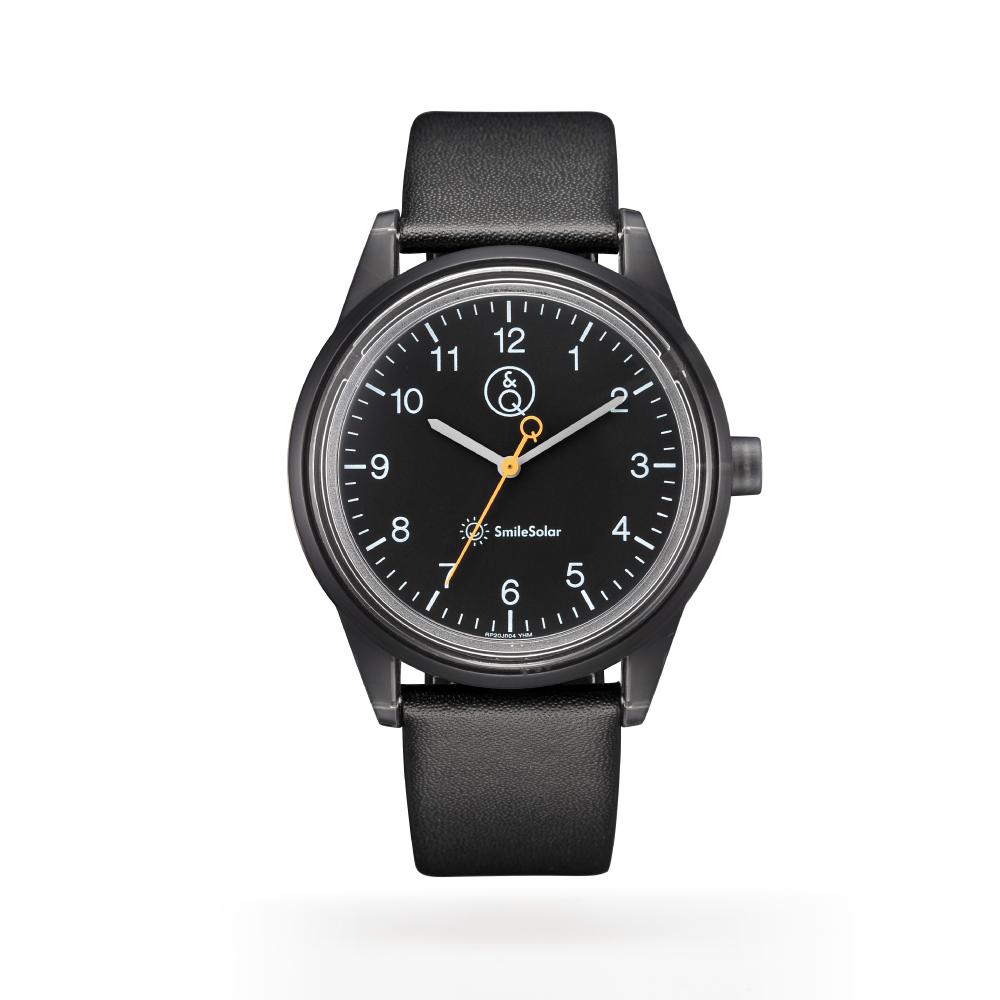 Q&Q SmileSolar|喀什米爾系列太陽能手錶 沉穩黑Large 40mm
