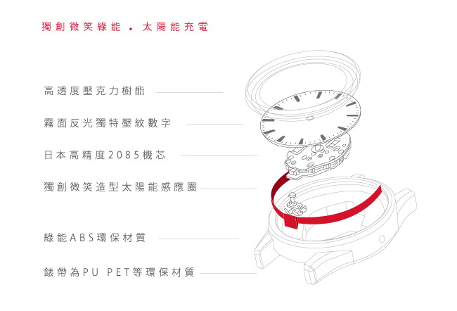 Q&Q SmileSolar 喀什米爾系列太陽能手錶-沉穩黑Large/40mm