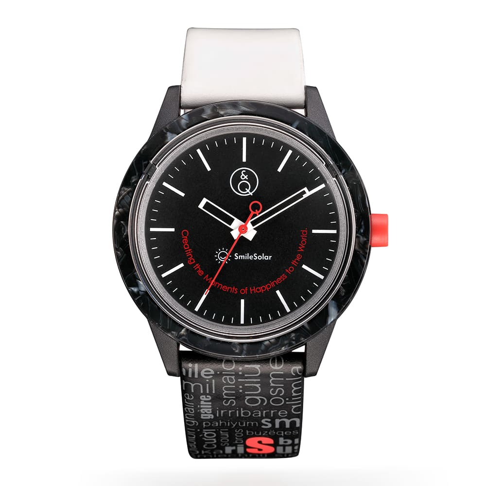 Q&Q SmileSolar 巴賽爾系列太陽能手錶 耀石黑 40mm