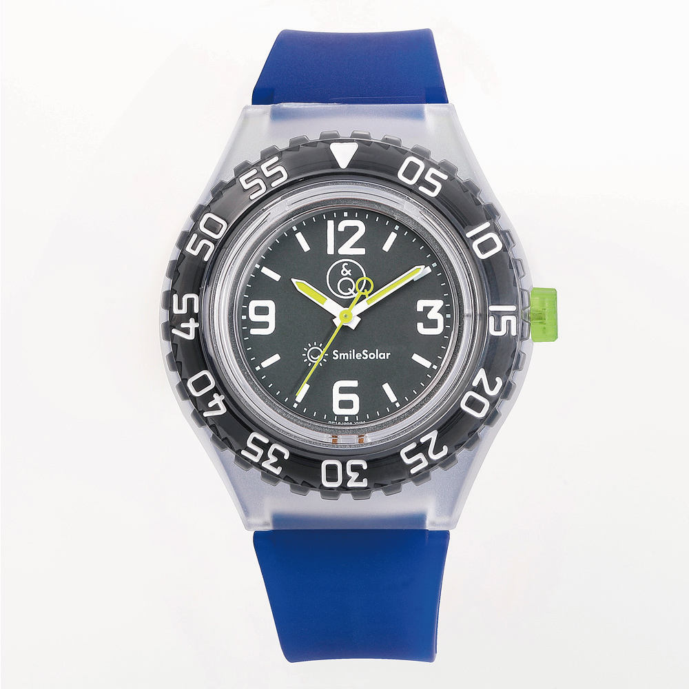 Q&Q SmileSolar|剉冰潛水系列 007 太陽能潛水錶 藍莓漿 45mm