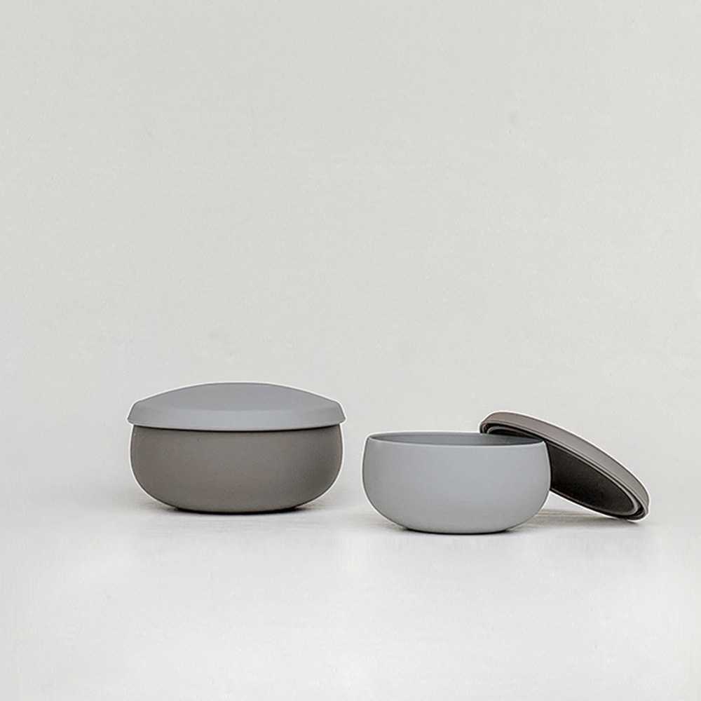 Besovida 雙雙全矽膠環保碗  /  黑岩灰
