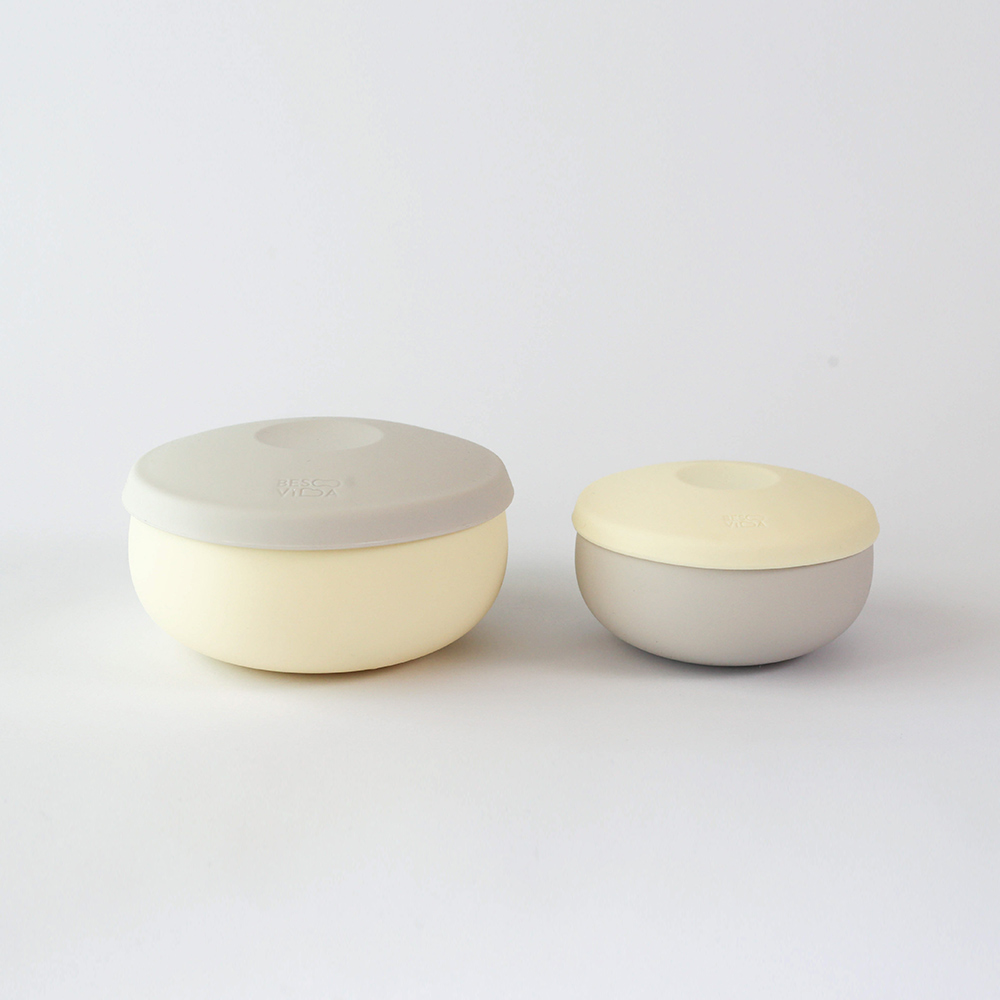 Besovida|雙雙全矽膠環保碗  /  淡檸黃