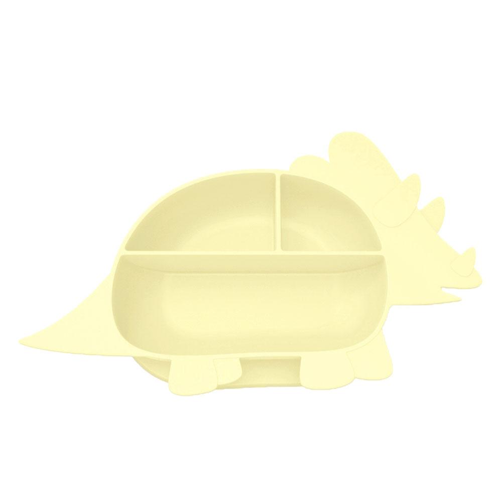 Besovida|三角龍兒童學習餐盤  /  淡檸黃