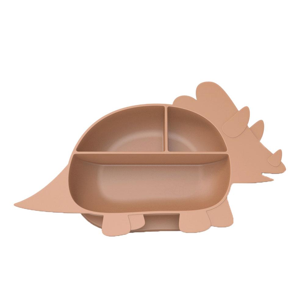 Besovida 三角龍兒童學習餐盤  /  栗子棕