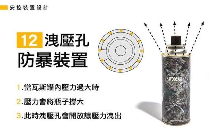 Woosah有鬆 樹葉迷彩高山瓦斯罐 230g 1箱 (共24 罐)