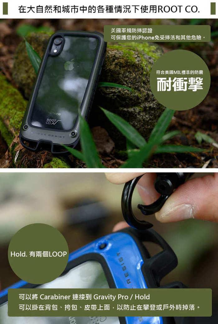 日本 ROOT CO. iPhone XR Gravity Hold. 雙掛勾式軍規防摔手機保護殼 - 共六色