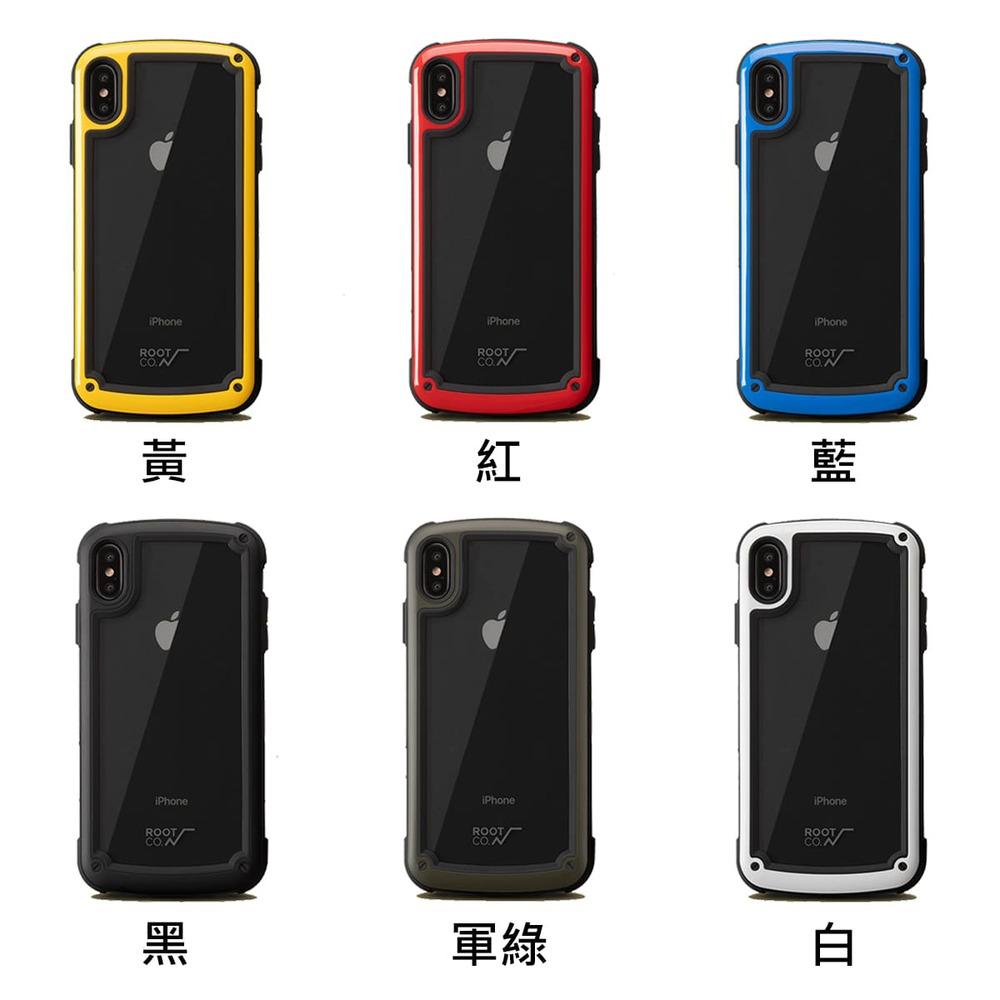 日本 ROOT CO.│iPhone X / Xs Tough & Basic 透明背板軍規防摔手機保護殼 - 共六色