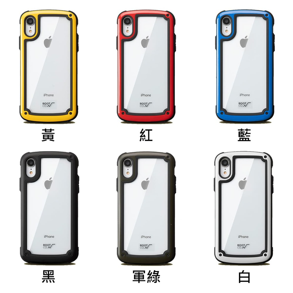 日本 ROOT CO.│iPhone XR Tough & Basic 透明背板軍規防摔手機保護殼 - 共六色