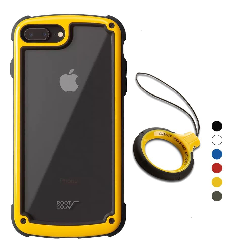 日本 ROOT CO.│iPhone 7 / 8 Plus Tough & Basic 透明背板+指環吊繩 - 共六色