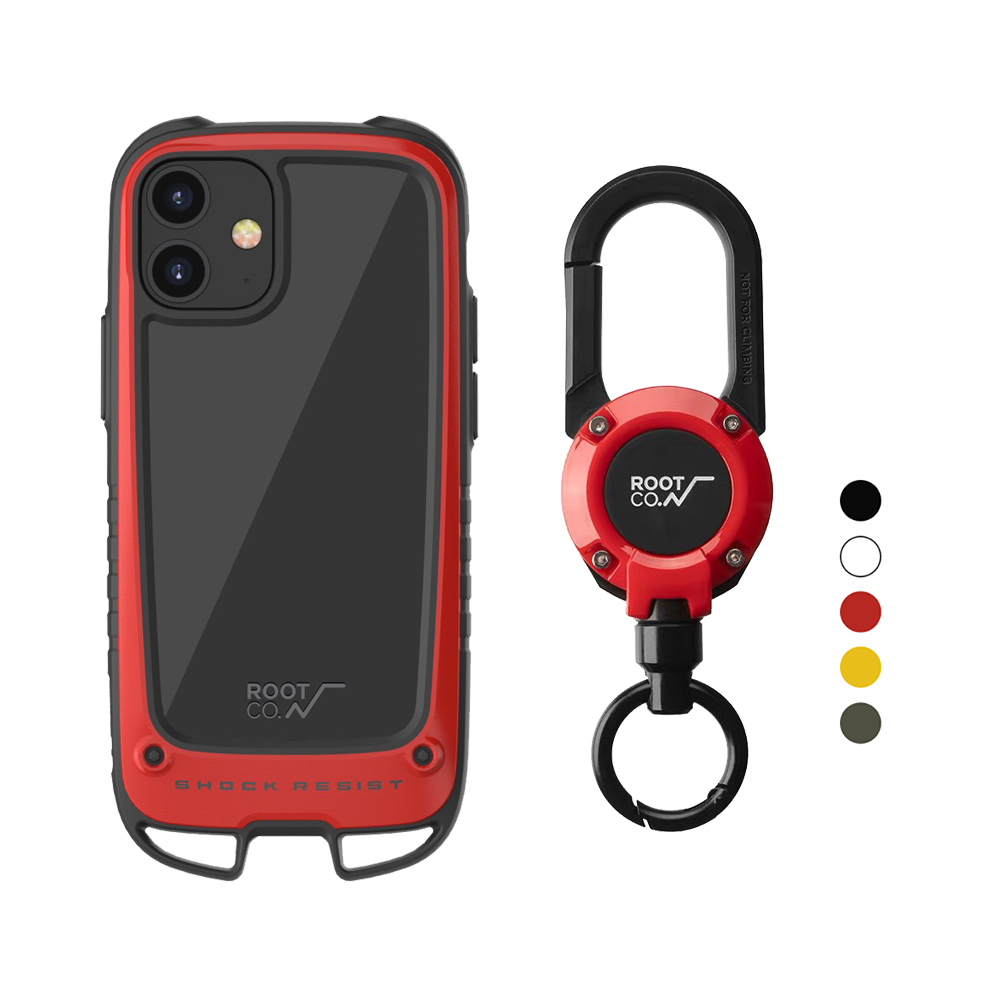 日本 ROOT CO.|iPhone 12 mini Gravity Hold. 雙掛勾+360度旋轉登山扣 - 共五色