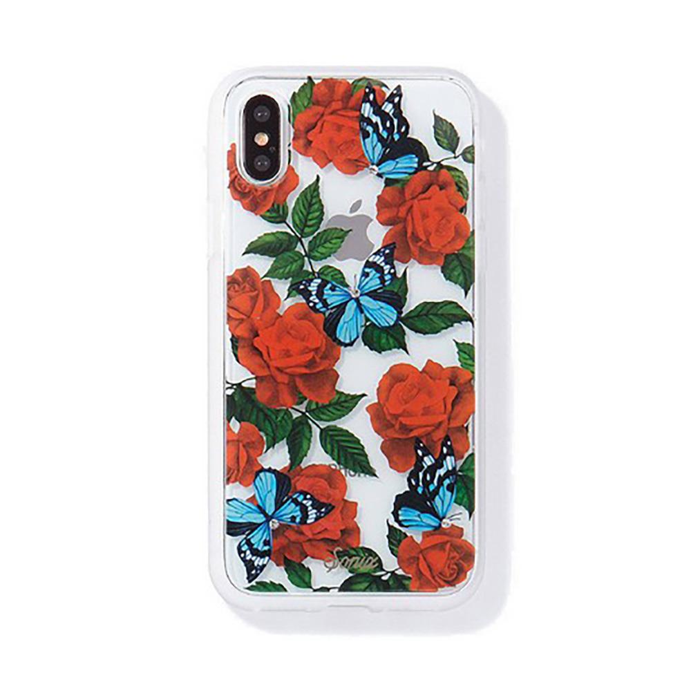 美國 Sonix iPhone X/XS Rhinestone Butterfly Garden 玫瑰夜蝶軍規防摔手機保護殼