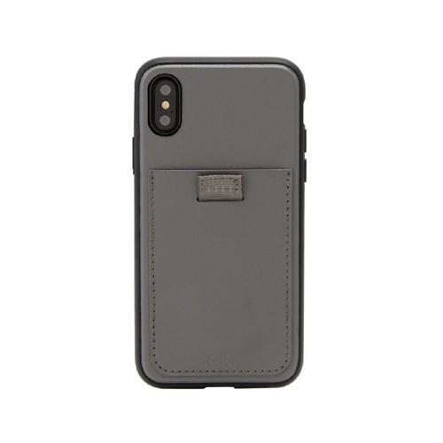 美國 BONDIR iPhone X/XS Gray Leather Wallet Case 格雷陰影軍規防摔手機保護殼