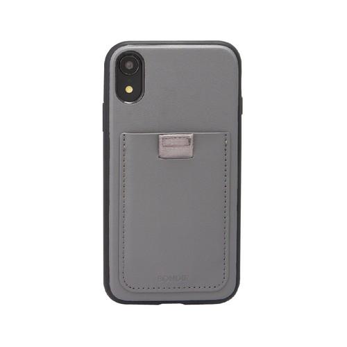 美國 BONDIR|iPhone XR Gray Leather Wallet Case 格雷陰影軍規防摔手機保護殼