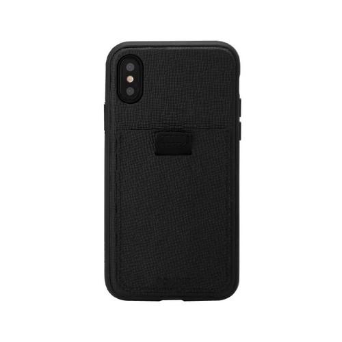 美國 BONDIR|iPhone XS Max Black Leather Wallet 黑寡婦軍規防摔手機保護殼