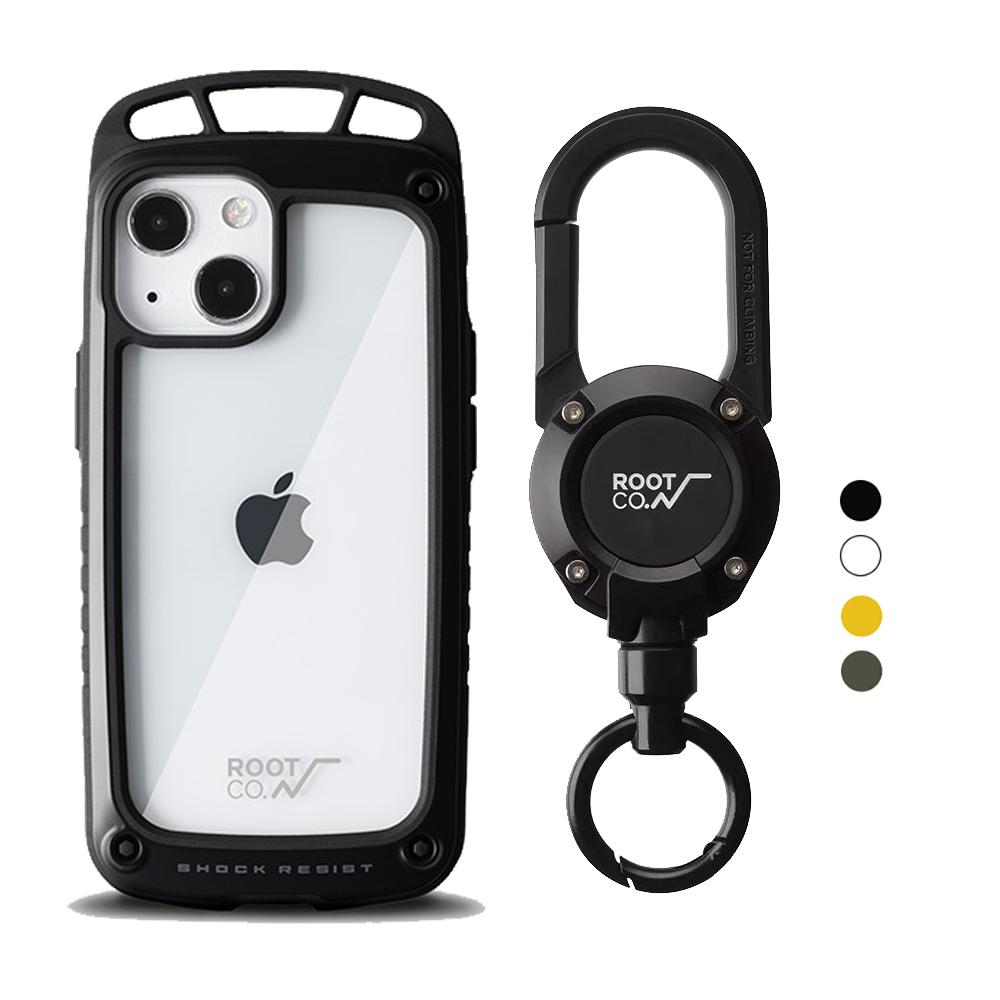 日本 ROOT CO. iPhone 13 mini 透明背板上掛勾防摔手機殼 + 360度旋轉登山扣 - 共四色