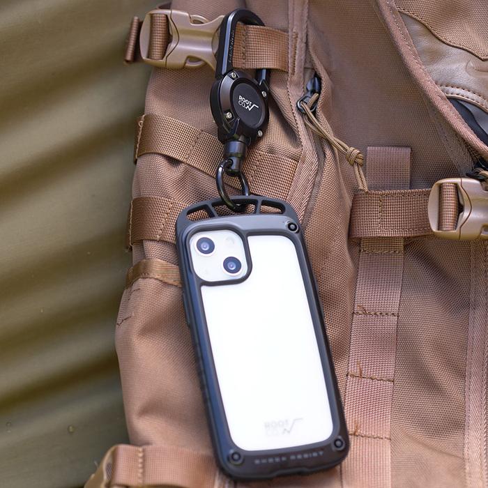 (複製)日本 ROOT CO. iPhone 13 mini 透明背板上掛勾防摔手機殼 + 360度旋轉登山扣 - 共四色