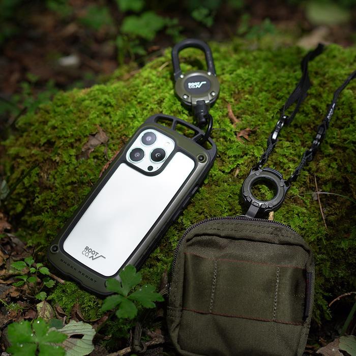 (複製)日本 ROOT CO. iPhone 13 透明背板上掛勾防摔手機殼 + 360度旋轉登山扣 - 共四色