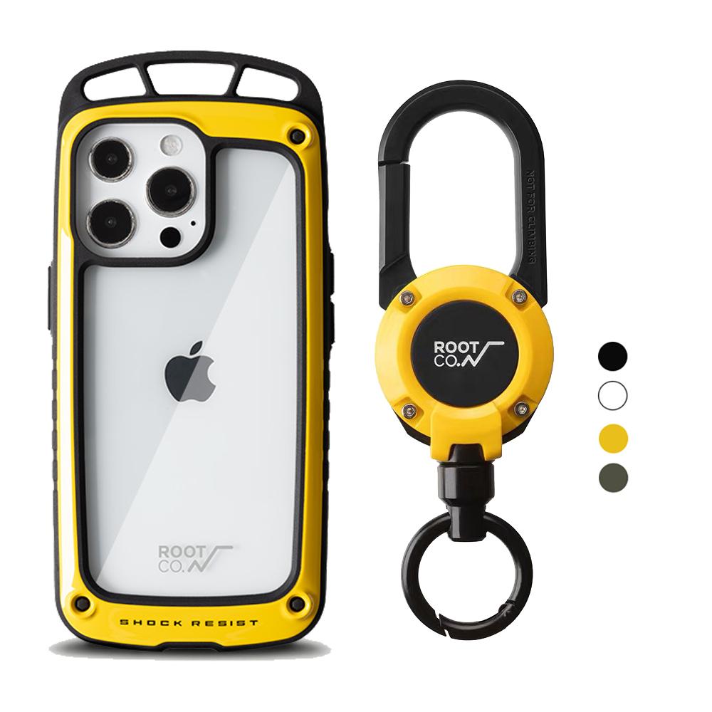 日本 ROOT CO. iPhone 13 Pro 透明背板上掛勾防摔手機殼 + 360度旋轉登山扣 - 共四色