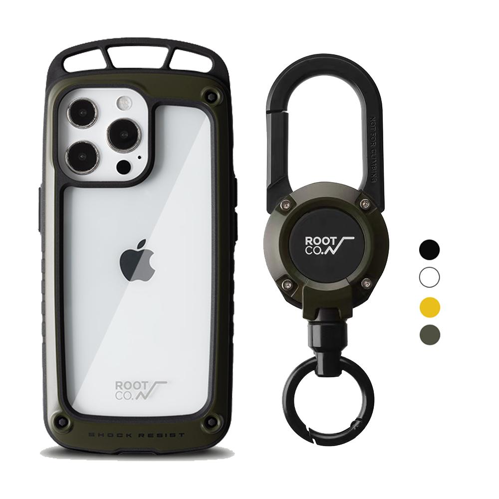 日本 ROOT CO. iPhone 13 Pro Max 透明背板上掛勾防摔手機殼 + 360度旋轉登山扣 - 共四色