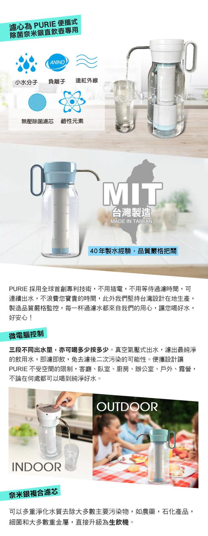 Purie 普瑞 便攜式除菌奈米直飲壺專用濾心(奈米銀複合濾心 殺菌率99.9%)