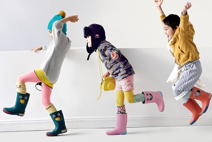 法國BOXBO-WISTITI Star雨靴(我愛閃爍星/深紅橘)