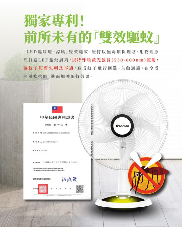 SANSUI 山水│獨家專利 14吋LED智慧雙效驅蚊DC扇 SDF-14M01