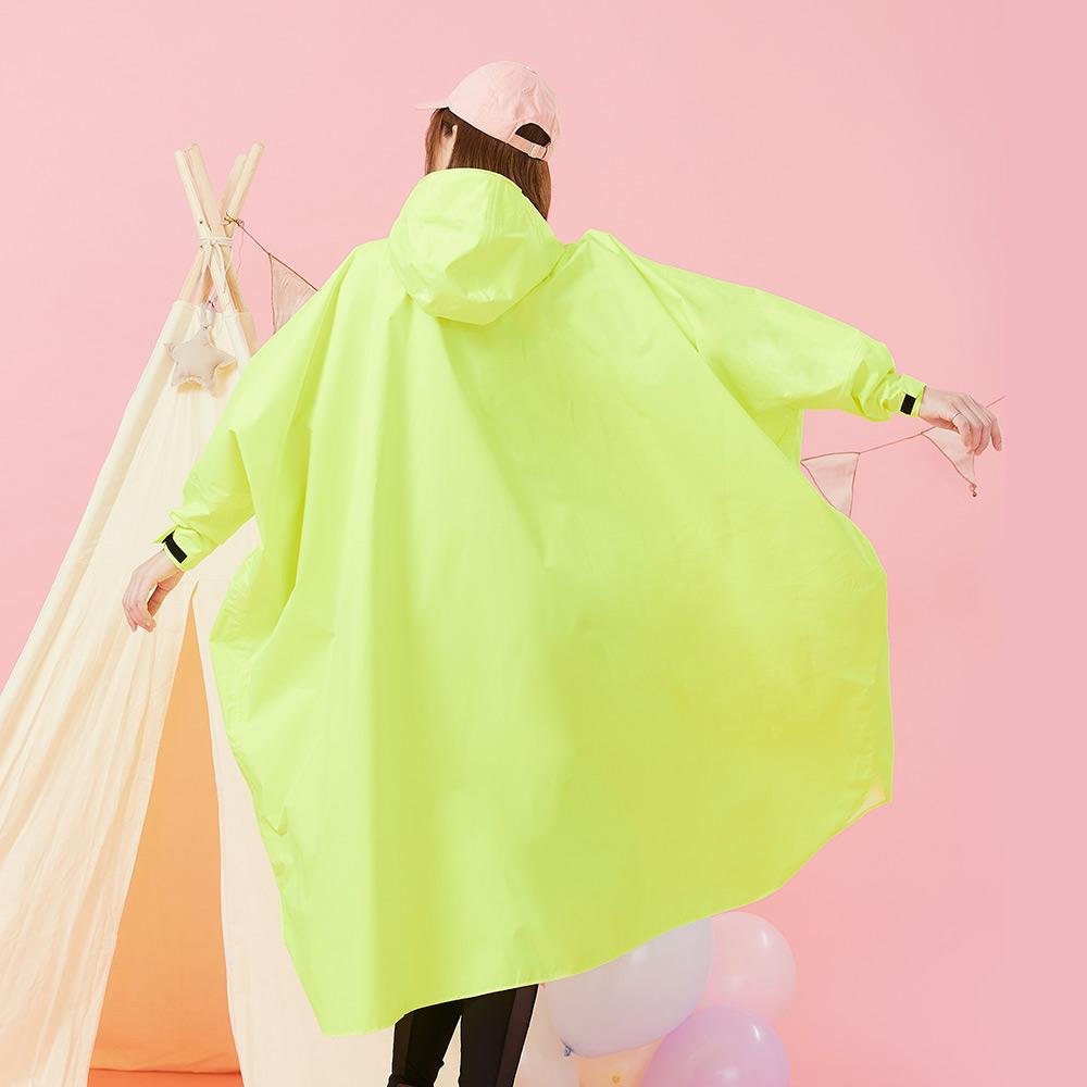 Funny Q|透氣排汗斗篷雨衣-螢光黃