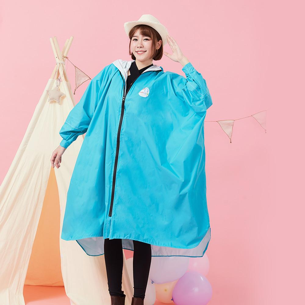 Funny Q|透氣排汗斗篷雨衣-水藍