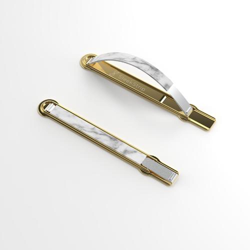 SleekStrip|犀利釦手機支架-金框X白大理石