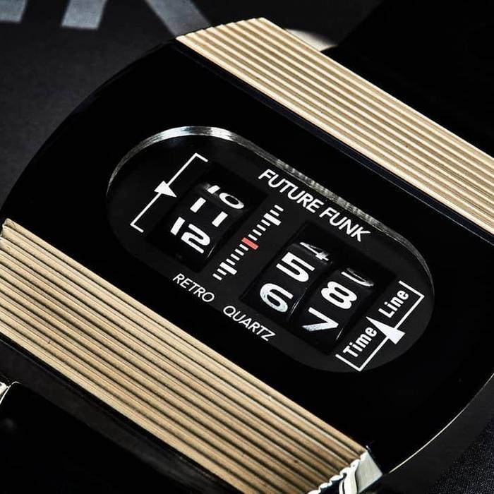 (複製)Future Funk|閃亮日子,磐石黑,日本直立迴轉石英錶,運動橡膠錶帶