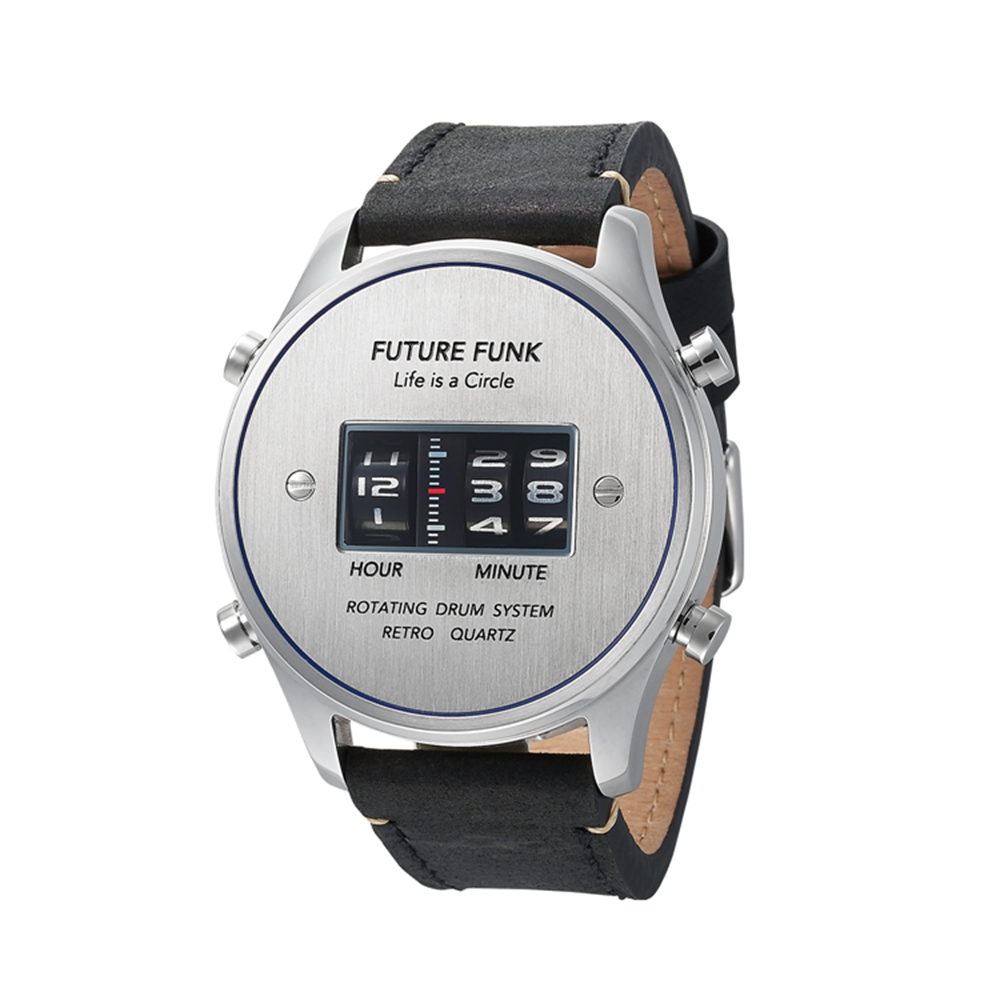 Future Funk|迴轉向你-太空時代-月牙銀,日本直立迴轉石英錶